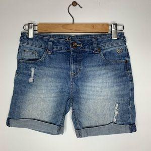 •kids• jean cuffed justice shorts 12